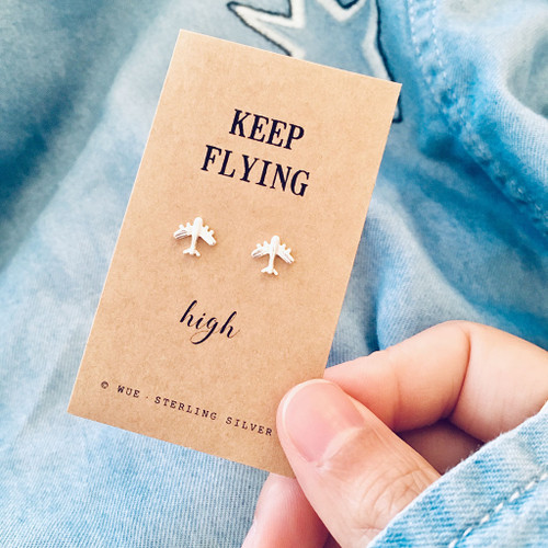 Keep Flying High Silver Airplane Earrings Lifestyle