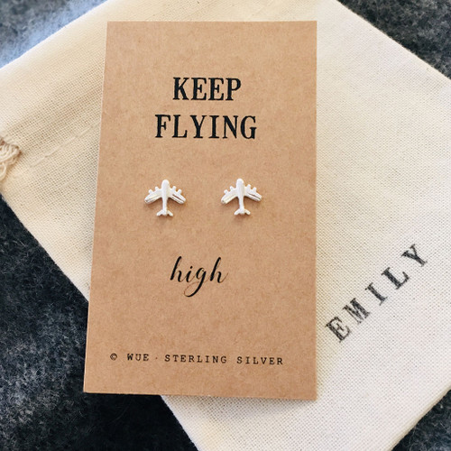 Keep Flying High Silver Airplane Earrings Personalised