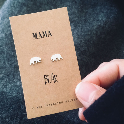 Mama Bear Silver Earrings Lifestyle