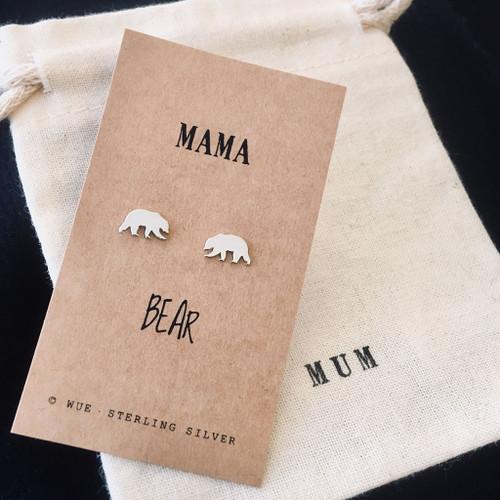 Mama Bear Silver Earrings Personalised