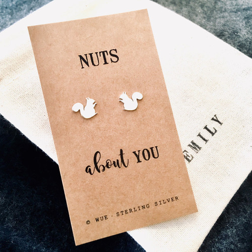 Nuts About You Silver Earrings Personalised