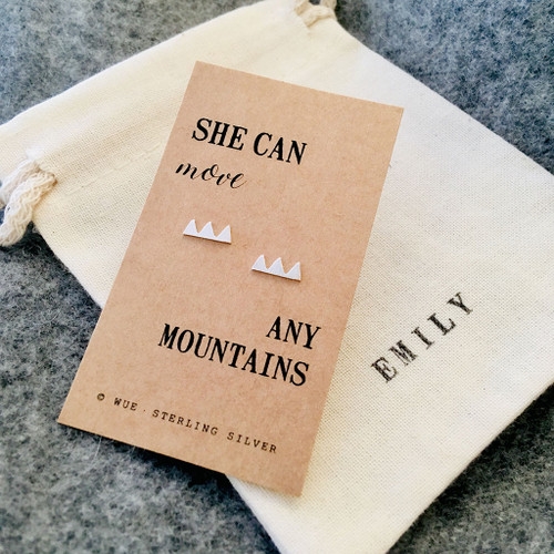 She Can Move Mountains Silver Earrings Personalised