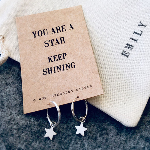 You Are A Star Silver Hoop Earrings  Personalised