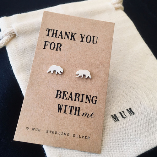 Thank You Bear Silver Earrings Personalised