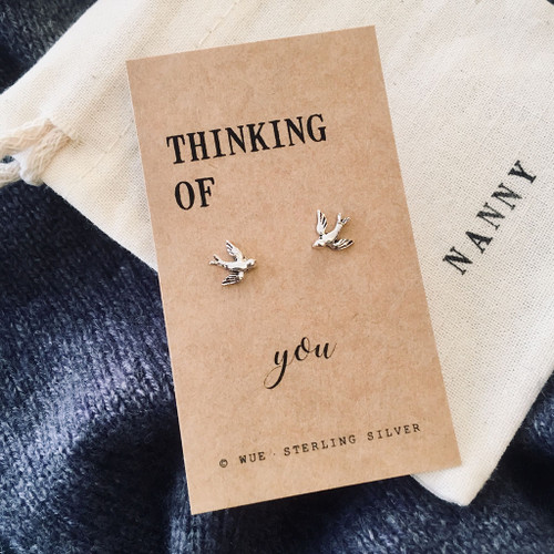 Thinking Of You Silver Swallow Earrings Personalised