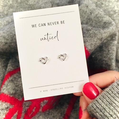 Never Untied Silver Heart Earrings