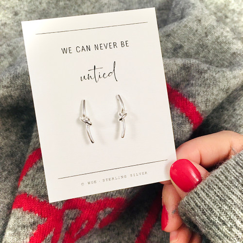 Never Untied Silver Knot Earrings