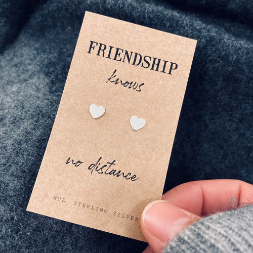Friendship Heart Silver Earrings