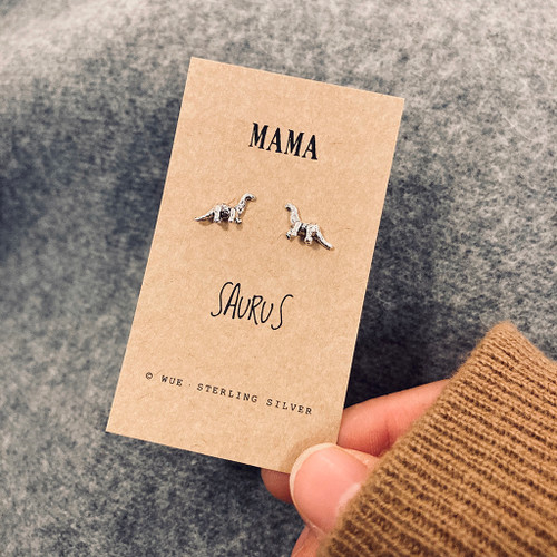 Mamasaurus Silver Dino Earrings