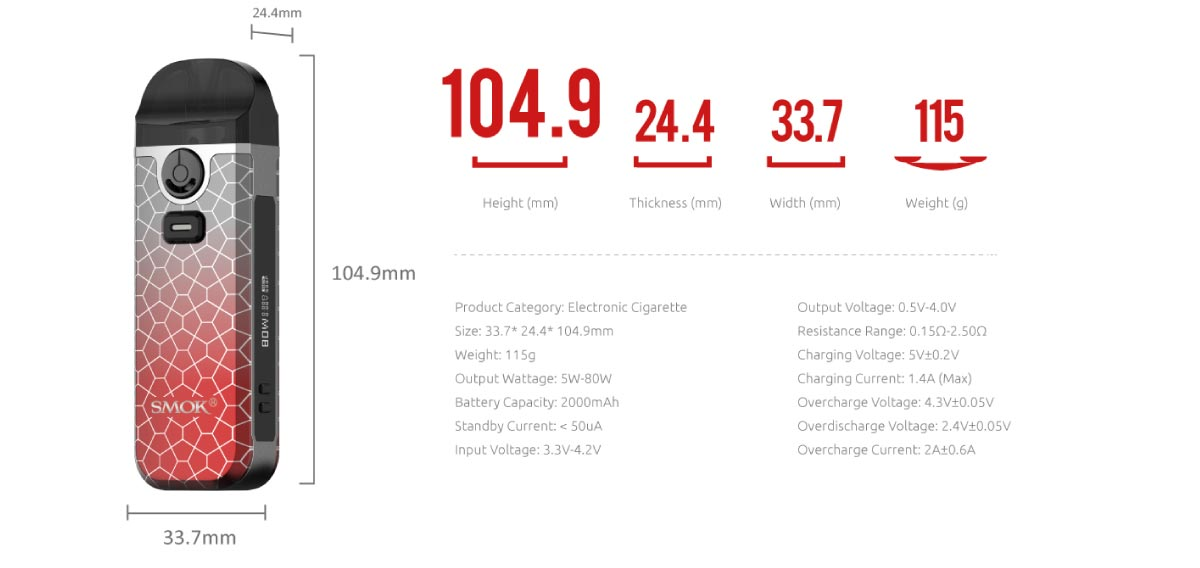 smok nord4 specifications