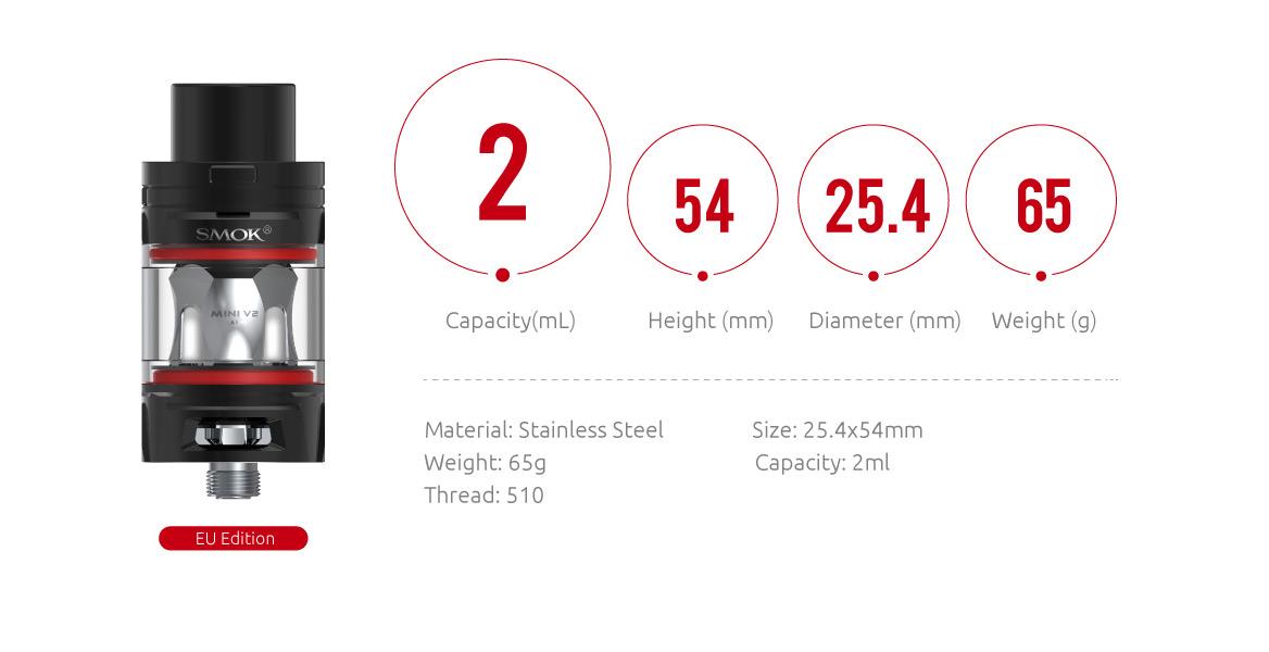 smok tfv mini v2 tank specifications