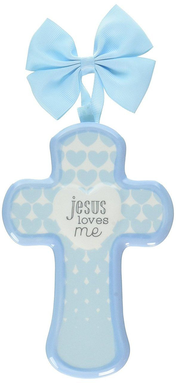 Grow In Grace Baby Boy Jesus Loves Me Cross Nursery Wall Decor Blue