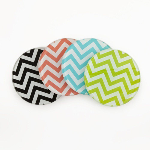 Chevron Decorative Glass Coasters