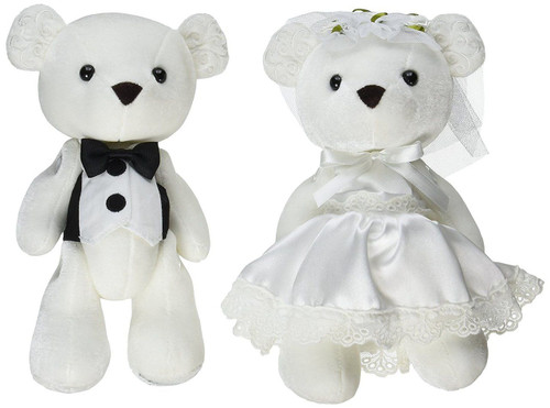 Insignia Bride and Groom Stuffed Animal Plush Wedding Bears, 9.5 inches