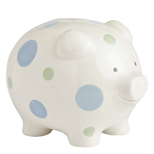 Beginnings by Enesco Big Polka Dot Piggy Bank, Blue, 7 inches