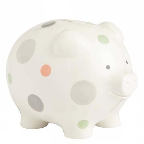 Beginnings by Enesco Big Polka Dot Piggy Bank, Neutral, 7 inches,
