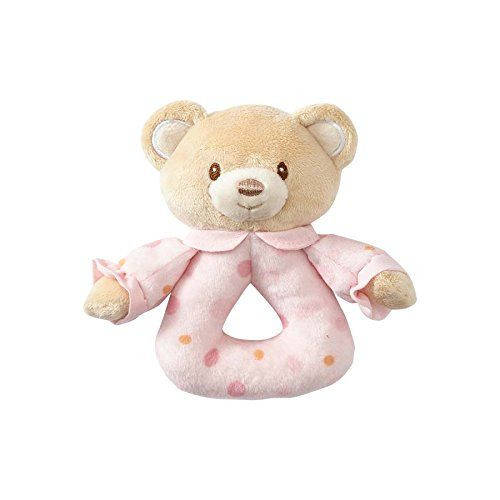 Beginnings by Enesco Plush Baby Girl Bear Rattle, 5 inches, Pink