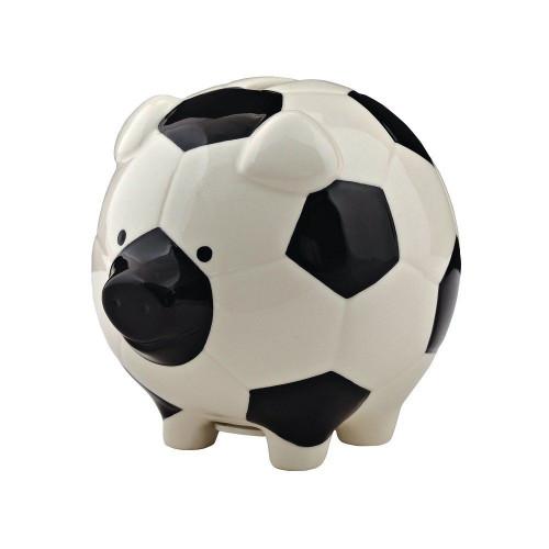 Enesco Soccer Piggy Bank, Ceramic, 4.25 inches, Black and White