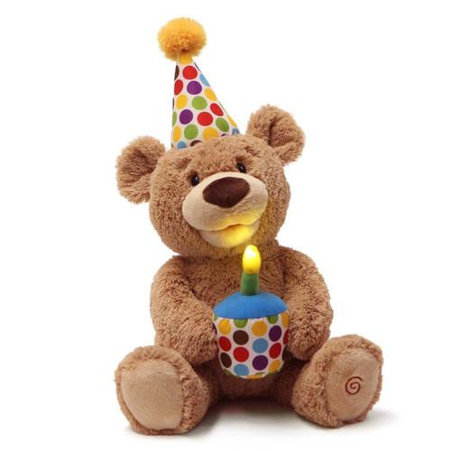 GUND Animated Happy Birthday Teddy Bear Stuffed Animal Plush,10 inches, Brown