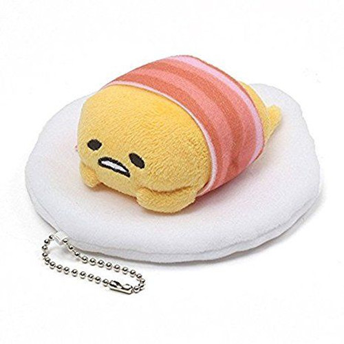 GUND Gudetama Lazy Egg Plush Keychain, Laying Down with Bacon Blanket, 4.5 inches