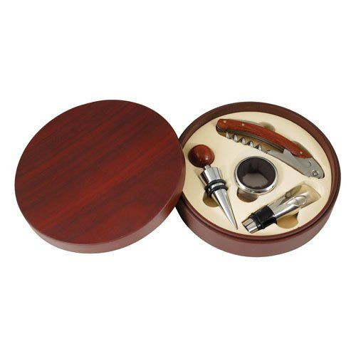 True Round Cherry Wood Wine Accessory Gift, 4 Piece Set