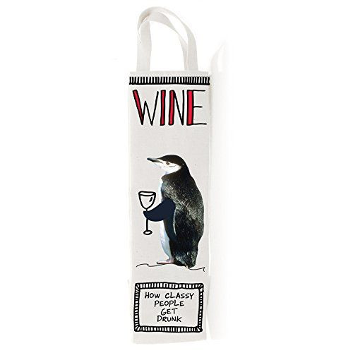 Hoots and Howlers Penguin Wine Tote Bag, 18.25 inches Tall
