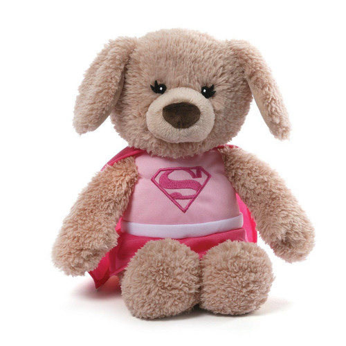 GUND DC Comics Supergirl Yvette Stuffed Animal Plush Dog, Pink, 12 inches