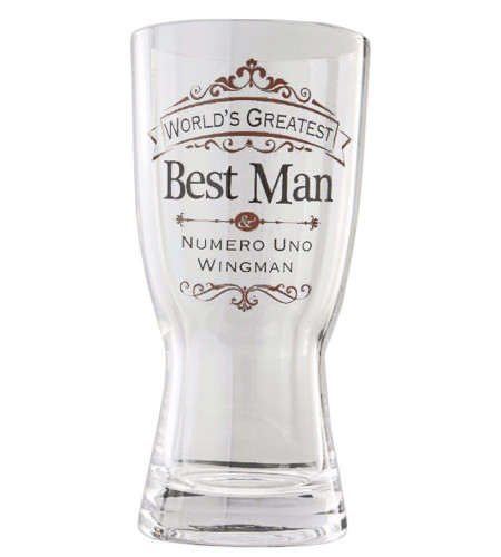 Insignia Best Man Beer Glass Wedding Gift, 8 inches