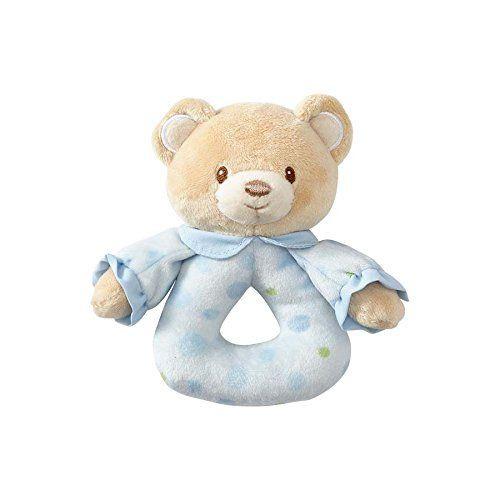 Beginnings By Enesco Plush Baby Boy Bear Rattle 5 Inches Blue