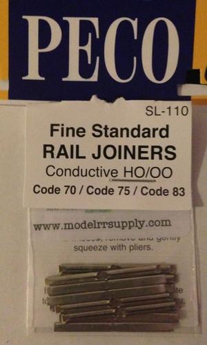 PECO SL-110 HO Rail Joiners - metal - code 70/75/83
