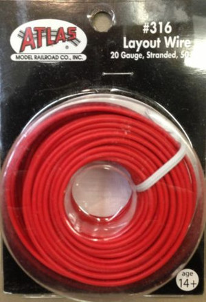 Atlas 316 Layout Wire 20 Gauge 50 Feet Stranded Copper #20 RED