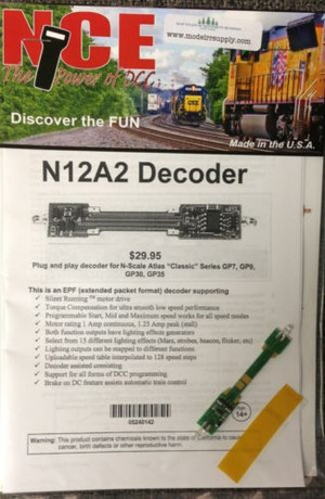 NCE 142 N12A2 Decoder Atlas N Scale Classic GP7 GP9 GP30 GP35