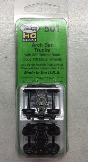 "KADEE 501 Pair Arch Bar Metal Sprung Trucks 33"" Code 110 Ribbed"