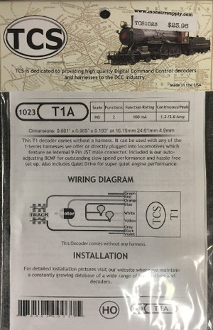 TCS 1023 T1A 2 Function DCC Decoder - no harness