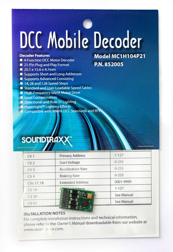 Soundtraxx 852005 MC1H104P21 21 Pin DCC Mobile Decoder