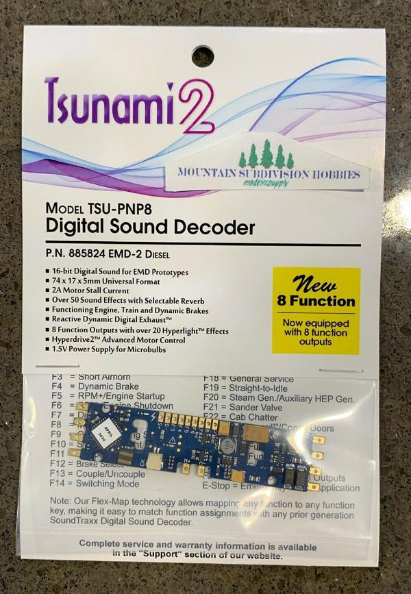 SOUNDTRAXX 885824 Tsunami2 TSU-PNP8 EMD-2 Diesel Locomotives Sound Decoder - NEW 8 Functions