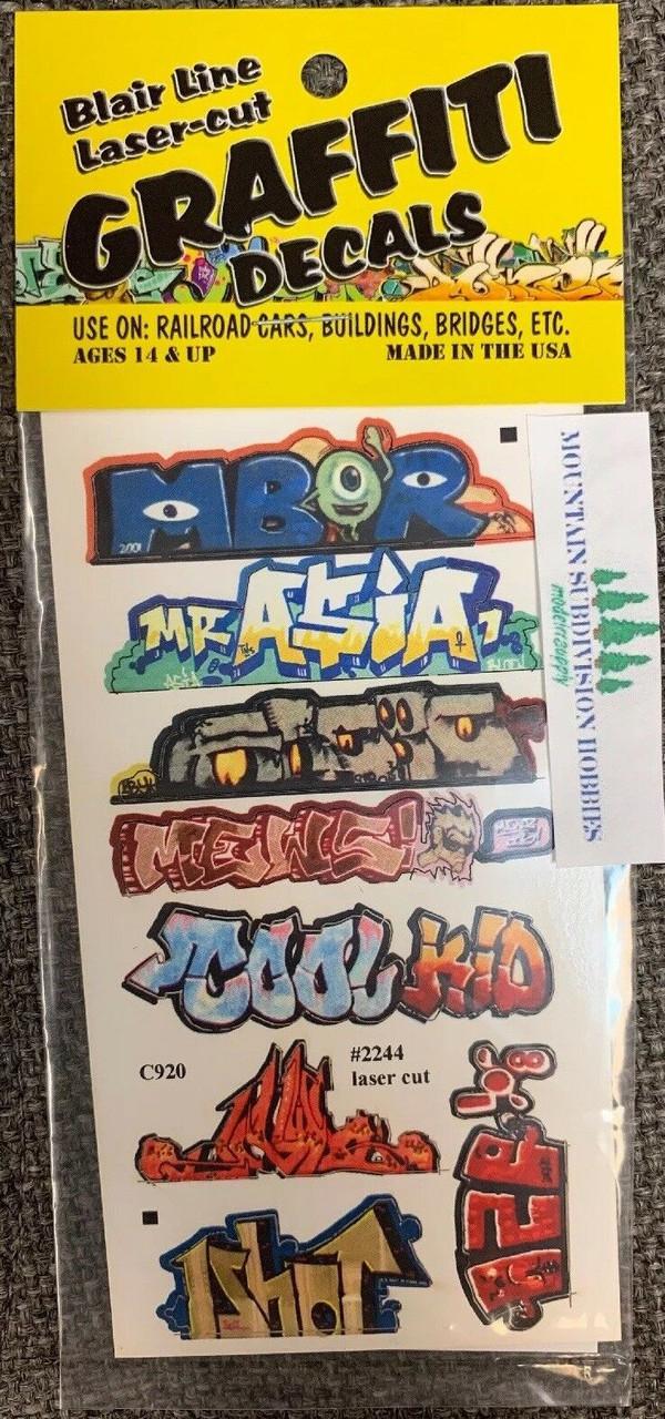Blair Line 2244 HO Graffiti Mega Decals #1 Laser-cut