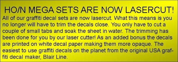 Blair Line 2246 HO Graffiti Mega Decals #3 Laser-cut