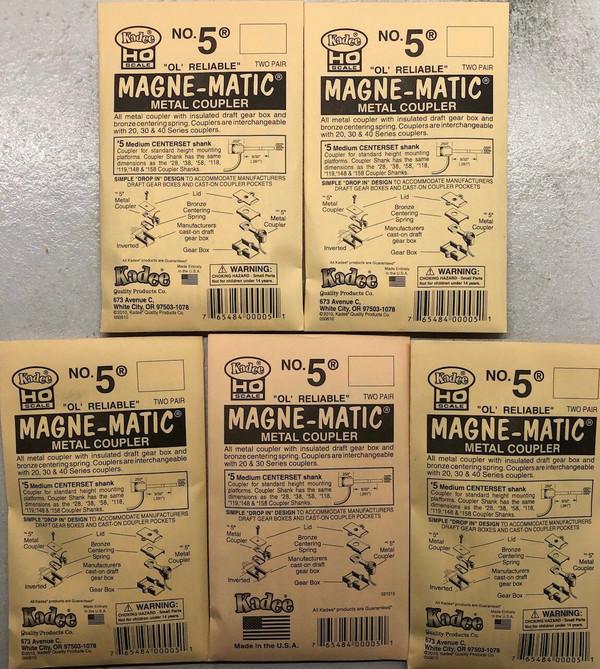 5 Packs KADEE #5 Magne-Matic Coupler 2 Pr/pk 20 couplers