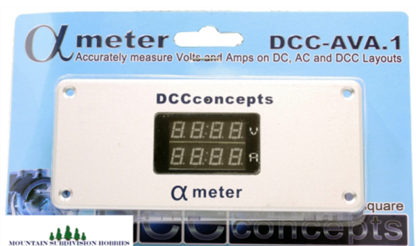 DCC Concepts DCC-AVA.1 Alpha Meter for DC, DCC, and AC layouts (volts and amps)