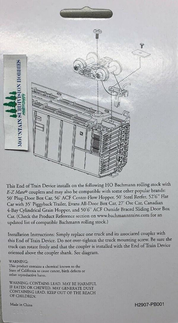 Bachmann 42907 HO Flashing End of train device