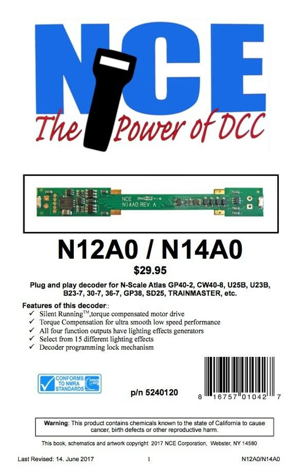 NCE 120 N12A0 Decoder Atlas N Scale Plug n Play