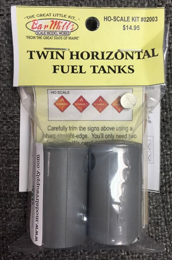 BAR MILLS 2003 Twin Horizontal Fuel Tanks - HO scale Kit
