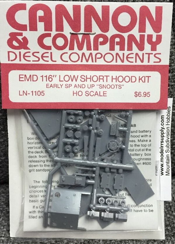 """Cannon & Co 1105 EMD 116"""" Short Hood Kit UP & SP SNOOTS Nose (Kit)"""