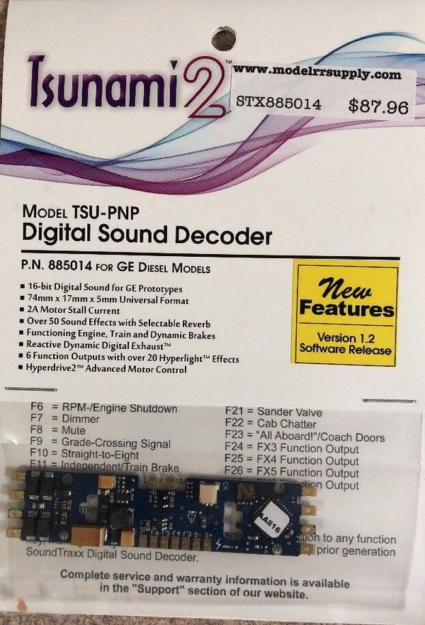 SOUNDTRAXX 885014 Tsunami2 TSU-PNP GE Diesel Locomotives Sound Decoder - Version 1.2