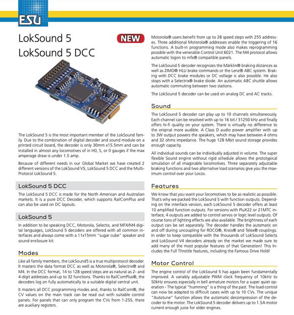 ESU 58429 Loksound 5 DCC 21 Pin (21MTC)(NEM660)