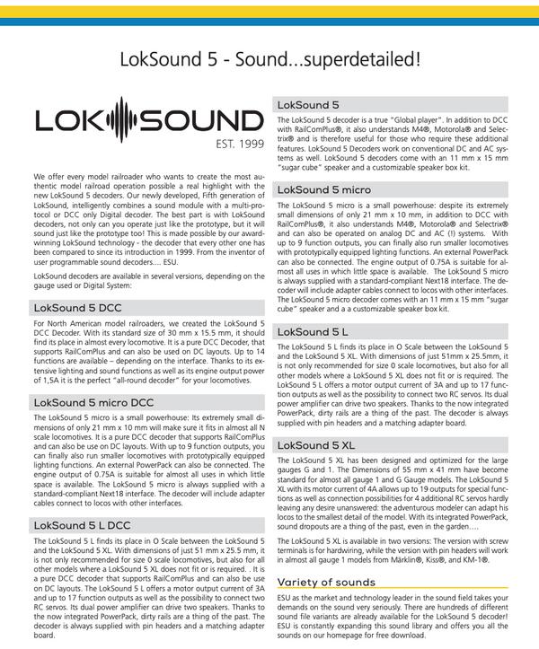 ESU 58823 Loksound 5 DCC Micro - Bare wire ends