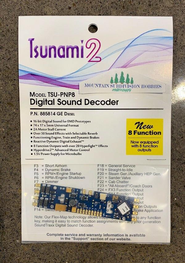 SOUNDTRAXX 885814 Tsunami2 TSU-PNP8 GE Diesel Locomotives Sound Decoder - NEW 8 Functions