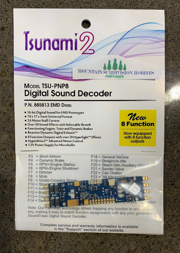 SOUNDTRAXX 885813 Tsunami2 TSU-PNP8 EMD Diesel Locomotives Sound Decoder - NEW 8 Function