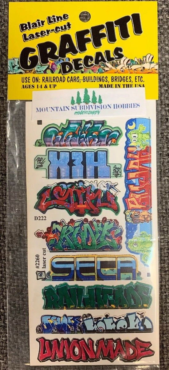 Blair Line 2260 HO Graffiti Mega Decals #11 Laser-cut